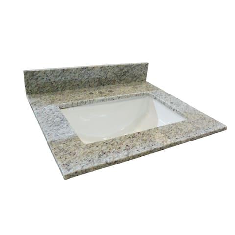 "Design House 563346 37"" Granite Vanity Top with Backsplash and Undermount Ceramic Sink - Kashmir White"