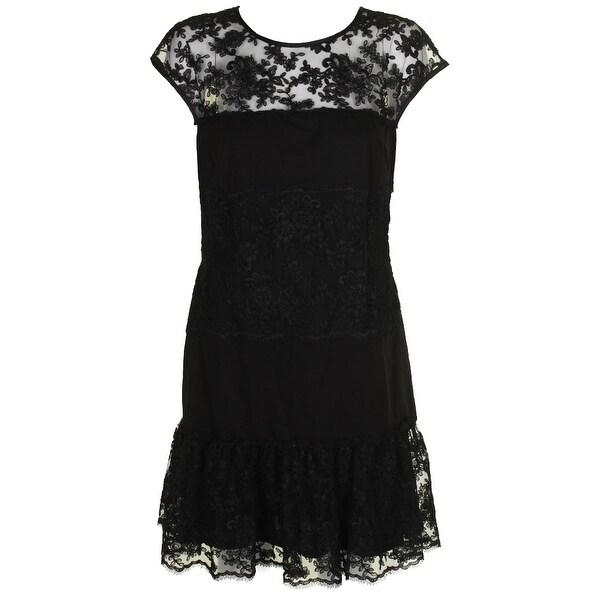 Msk Back Cap-Sleeve Lace-Inset Flounce-Hem Sheath Dress 6