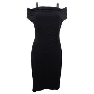 Connected Women's Plus Size Ruched Cowl-Neck Ruched Dress (14W, Black) - Black - 14W