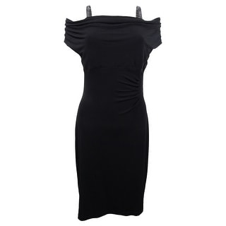 Connected Women's Plus Size Ruched Cowl-Neck Ruched Dress (24W, Black) - Black - 24W