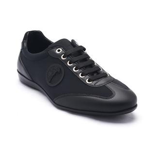 Versace Collections Men's Leather Rubber Medusa Logo Low Top Sneaker Shoes Black