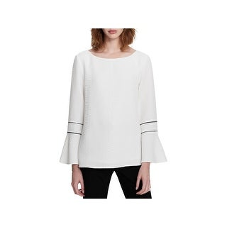 Calvin Klein Womens Blouse Textured Bell Sleeves
