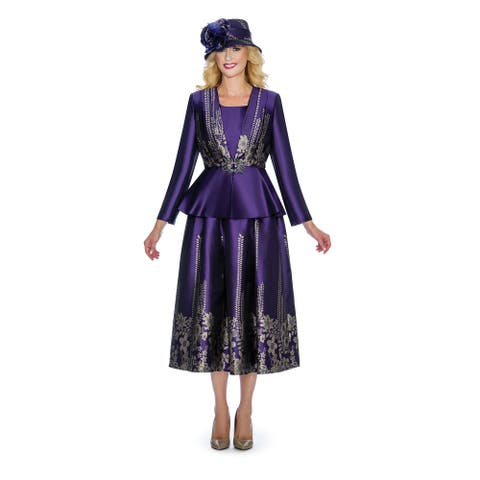 Giovanna Collection Women's 3-pc Jacquard on Shimmery Virtual Silk Peplum Skirt Suit