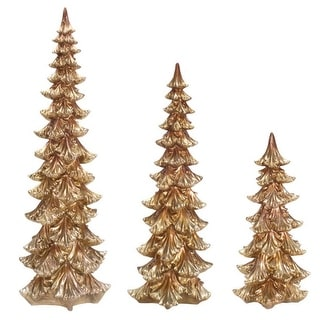 """Set of 3 Decorative Gold Christmas Tree Table Top Decorations 30"""""""