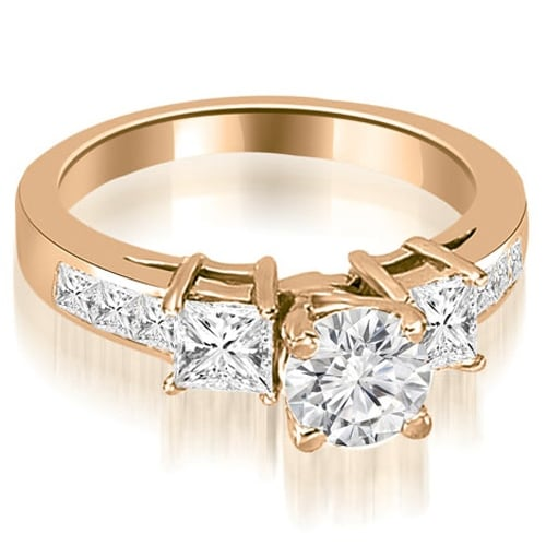 1.75 cttw. 14K Rose Gold Channel Princess and Round Diamond Engagement Ring