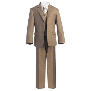 Little Boys Khaki Jacket Shirt Vest Clip On Tie Pants 5 Pc Suit Set 2T-7