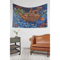 Handmade 100-percent Cotton 3D Steampunk Tugboat Tapestry Tablecloth Spread Twin 60x90