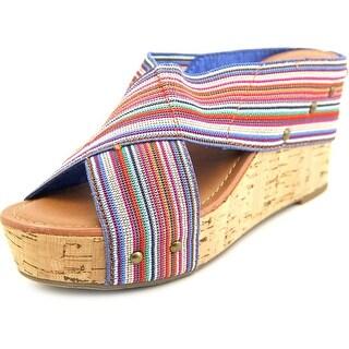 Crown Vintage Delight Women Open Toe Canvas Wedge Heel