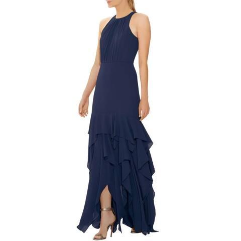 Halston Womens Sleeveless Ruffle Skirt Silky Georgette Gown 10 Navy