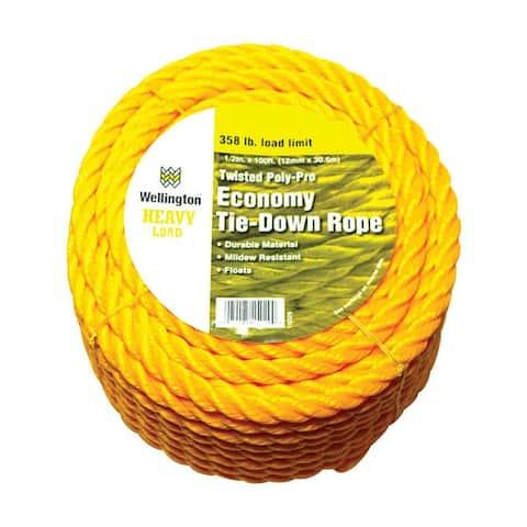 "Wellington 15029 Polypropylene Twisted Rope, Yellow, 1/2"" x 100'"