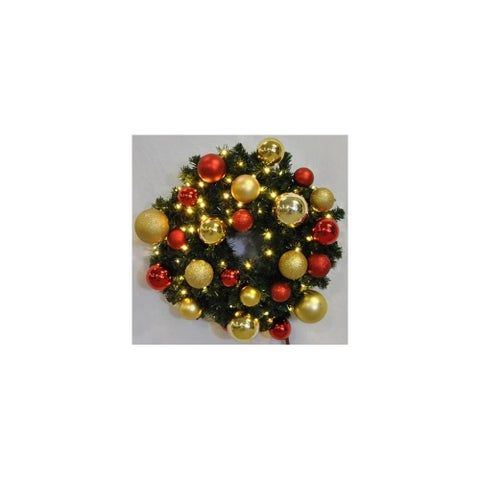 Christmas at Winterland WL-GWBM-02-RG-LWW 24 Inch Pre-Lit Warm White Blended Pine Wreath Decorated with Red and Gold Ornament