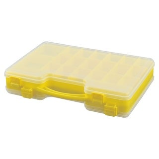 Plastic Portable Double Side 44 Compartments Fishing Bait Box Case Yellow