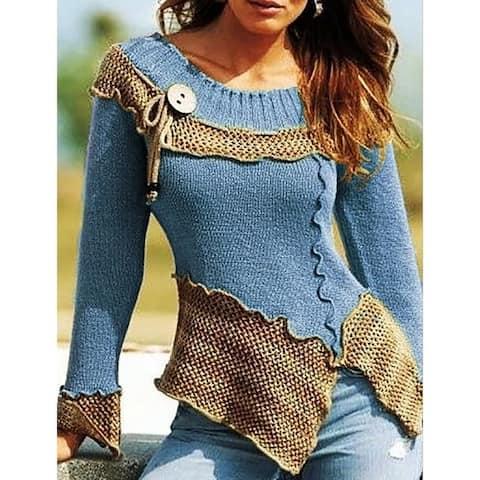 Round Neck Retro Long Sleeve Sweater