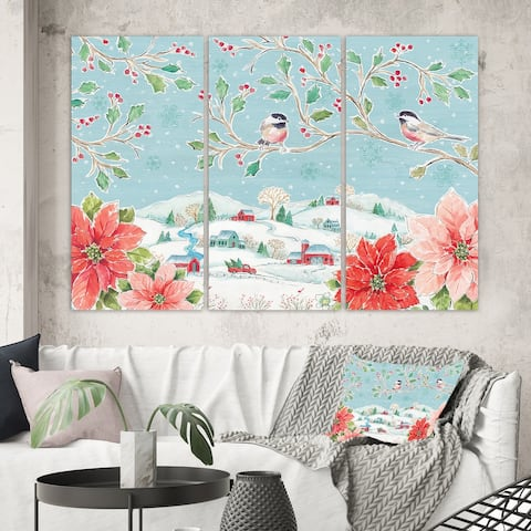 Designart 'Country Flower snowflakes II' Farmhouse Canvas Art