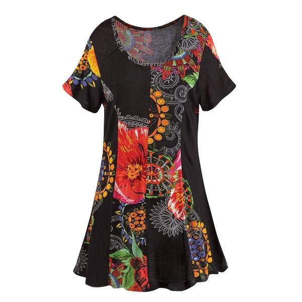 Women's Tunic Top - Black Garden Pattern Short Sleeve Shirt
