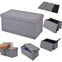Costway Folding Rect Ottoman Bench Storage Stool Box Footrest Furniture Home Decor Gray