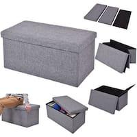 Costway Folding Rect Ottoman Bench Storage Stool Box Footrest Furniture Home Decor Gray - Grey