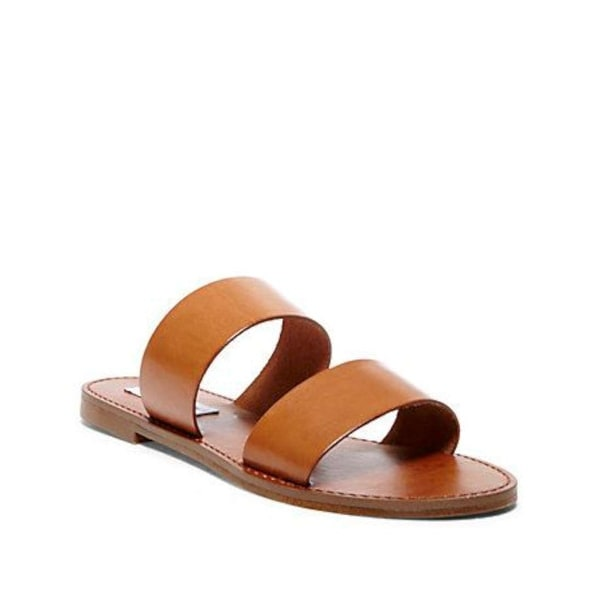 Steve Madden Womens Malta Leather Open Toe Casual Slide Sandals
