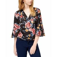 BCX Black Multi Womens Size Large L Floral Bell Sleeve Blouse