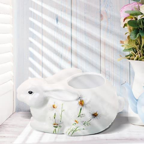 "Terracotta Daisy Bunny Planter 12""L - 12"""