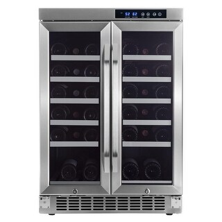 "EdgeStar CWR361FD 24"" Wide 36 Bottle Built-In Wine Cooler with Dual Cooling Zones - STAINLESS STEEL - N/A"