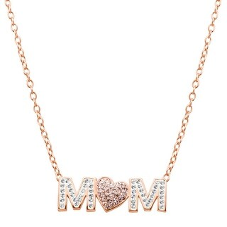 Crystaluxe 'Mom' Pink Heart Necklace with Swarovski Crystals in 18K Rose Gold-Plated Sterling Silver - White