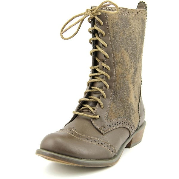 Dirty Laundry Paxton Women Round Toe Canvas Brown Mid Calf Boot