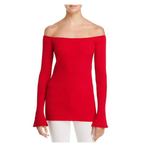 MLM LABLE Womens Red Long Sleeve Off Shoulder Sweater Size: XS