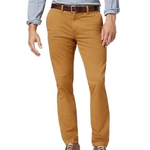 Tommy Hilfiger Mens Chino Pants Camel Brown Size 38x30 Slim-Fit Stretch