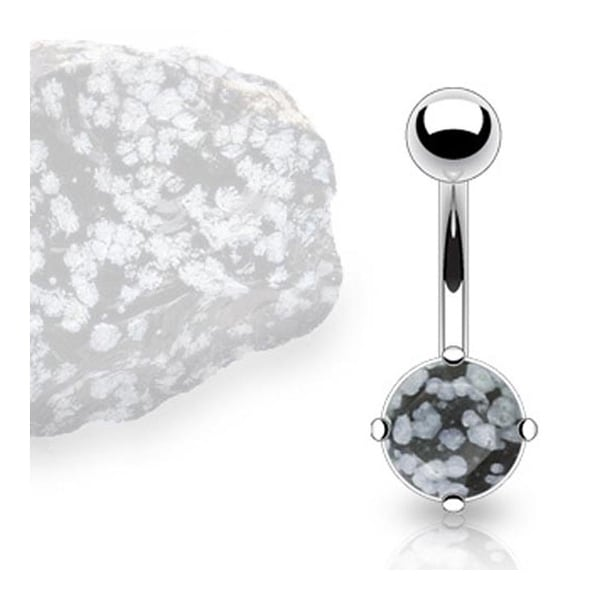 Stainless Steel Prong-Set Snow Obsidian Semi Precious Stone Navel Belly Button Ring