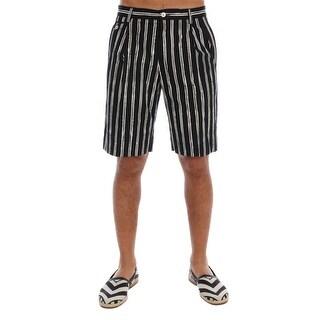 Dolce & Gabbana White Black Striped Cotton Shorts