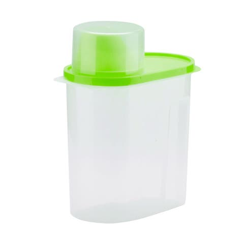 Food Storage Container w Lid Pour Spout and Seal Buckles Food Dispenser Green - Height:8.1""