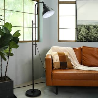 "CO-Z 65"" Rustic Floor Lamp Aged Bronze Adjustable Metal Shade"