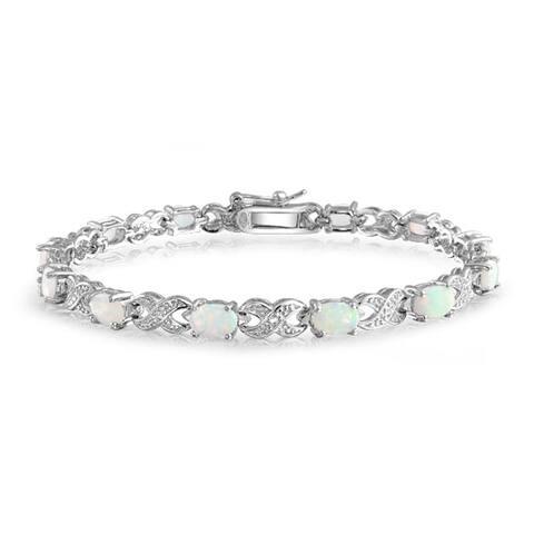 White Created Opal Infinity Bracelet 925 Silver October Birthstone