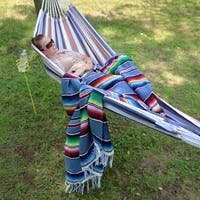 Sunnydaze Extra-Large Multicolor Mexican Serape Hammock Blanket - 83-Inch Long