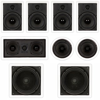 "Theater Solutions TST87 In-Wall/Ceiling 2000W 8"" Home Theater 7.2 Speaker Set"