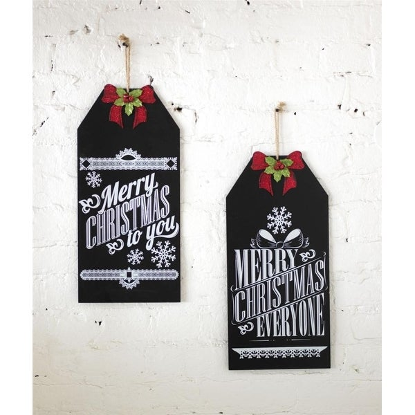 Set of 8 Black and White Christmas Themed Chalkboard Signs 19.25""