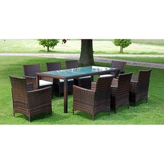 Link to vidaXL Outdoor Dining Set 17 Pieces Poly Rattan Wicker Brown Seat Glass Table Similar Items in Patio Furniture