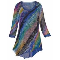 Women's Tunic Top - Colorful Striped Asymmetrical 3/4 Sleeve Shirt