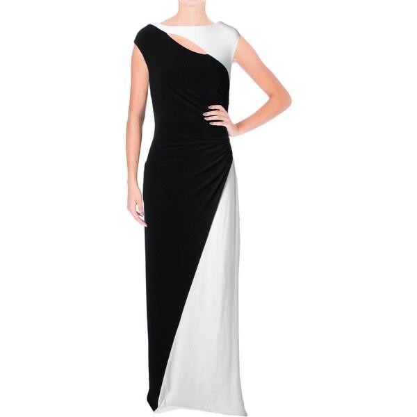 Lauren Ralph Lauren Womens Evening Dress Gathered Colorblock