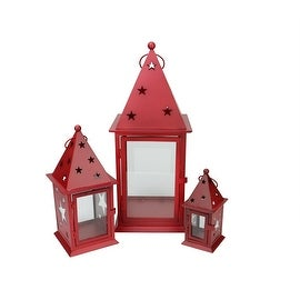 "Set of 3 Patriotic Red Glass Pillar Candle Lanterns with Star Cutouts 7.75"" - 19"""