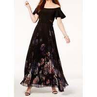 Xscape Black Women's Size 4 Floral Pleated Mesh Trim Sheath Dress