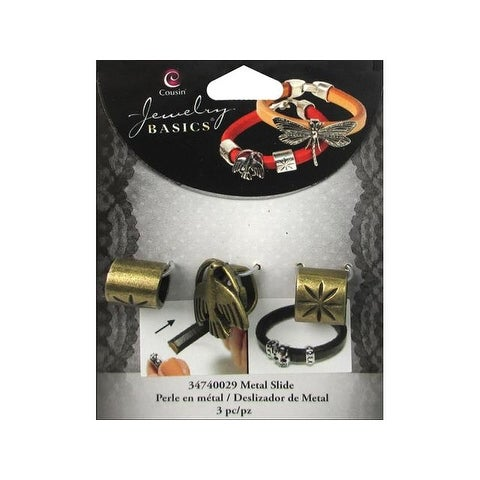 Cousin Slide Charm Metal Dove Gold 3pc