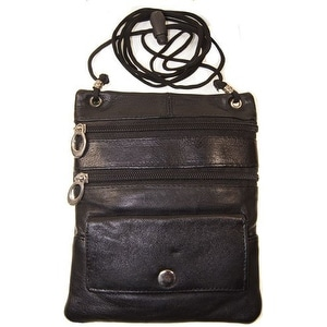 Improving Lifestyles Leather Crossbody Travel Bag Small Black FREE Organza Gift Bag SUN015BK
