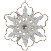 "5.25"" Gold Glitter Winter Snowflake Christmas Ornament - silver"