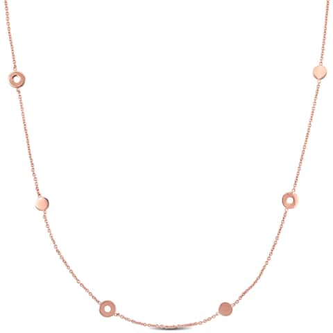 Miadora 18k Rose Gold Circle Station Necklace - 37.5 inch x 6 mm - 37.5 inch x 6 mm
