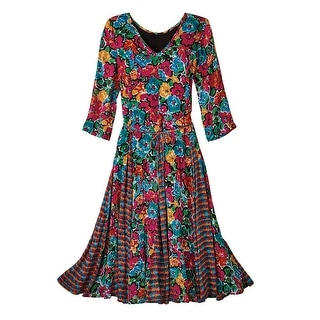 "Women's Fresh Flowers Maxi Dress - Ankle-Length 47"" Long"