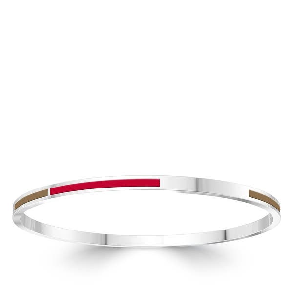 Silver Tone Cuff Bracelet with Red Enamel
