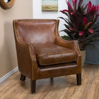Link to Carbon Loft Linden Vintage Brown Leather Club Chair Similar Items in Living Room Chairs