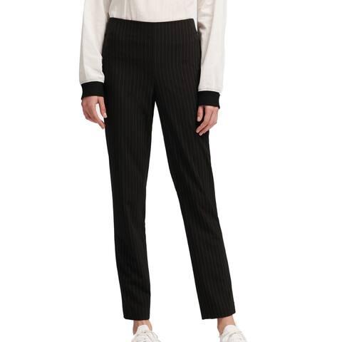 DKNY Women's Pants White Black 14 Dress Pinstripe Straight Leg Stretch